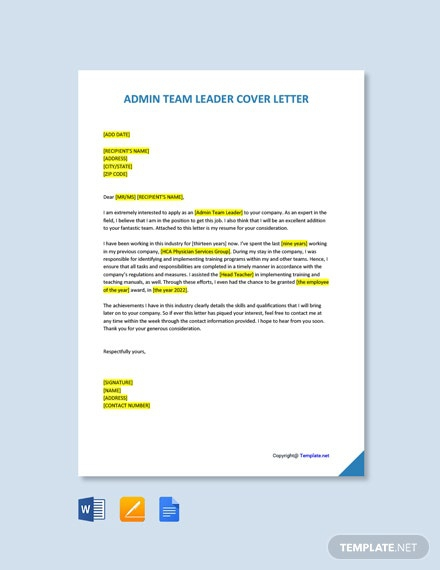Free Team Leader Cover Letter Templates