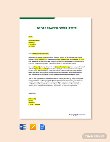 Free Trainer Cover Letter Templates