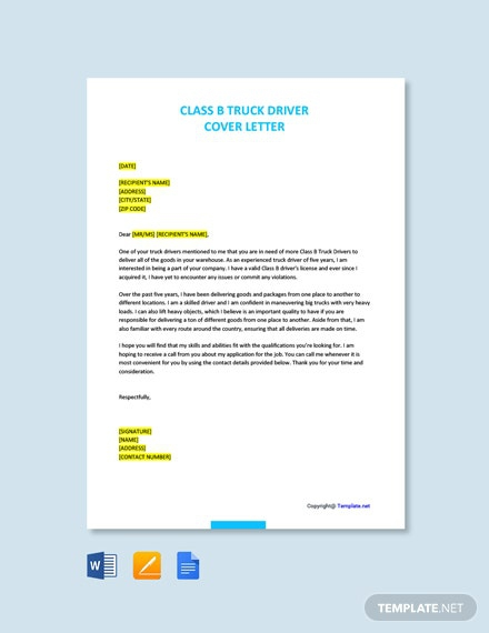 Free Truck Driver Cover Letter Templates