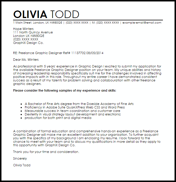 Freelance Graphic Designer Cover Letter Sample