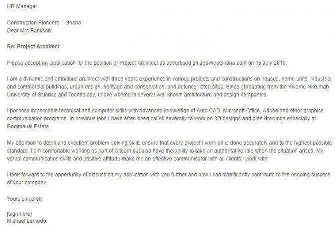 Fresh Graduate Architect Cover Letter Sample