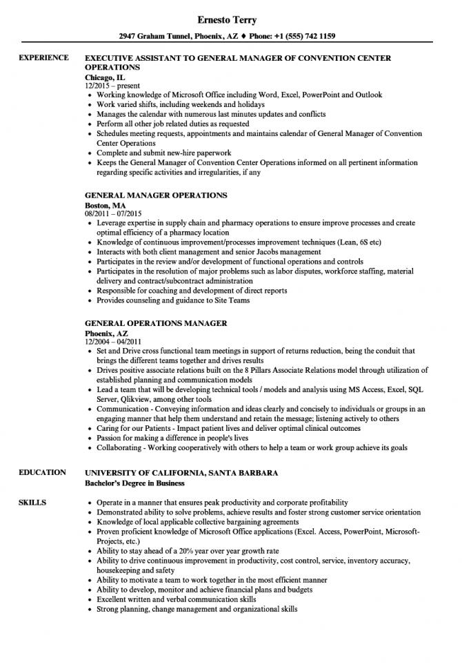 general and operations manager job description samples