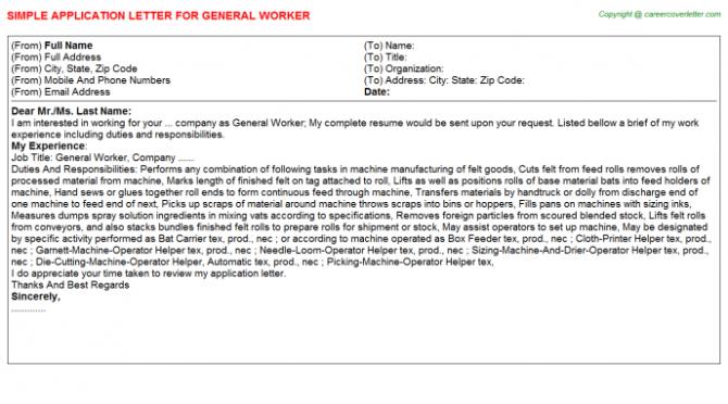 General Worker Application Letters