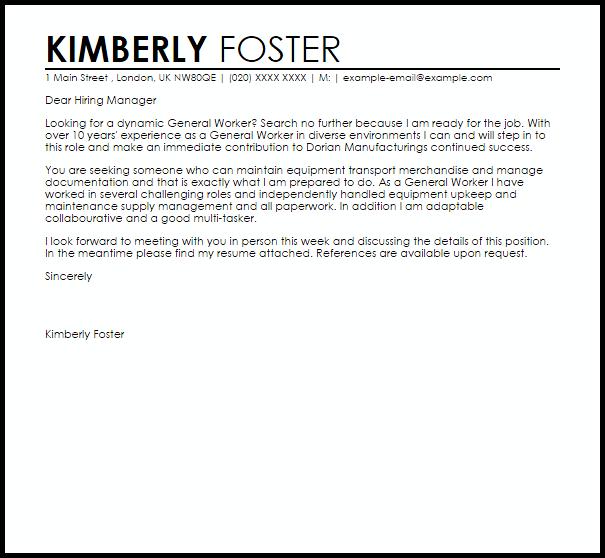General Worker Cover Letter Sample