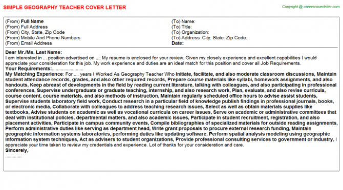 Geography Teacher Cover Letter