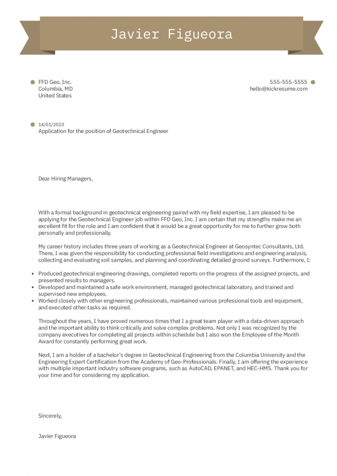 Engineering Cover Letter