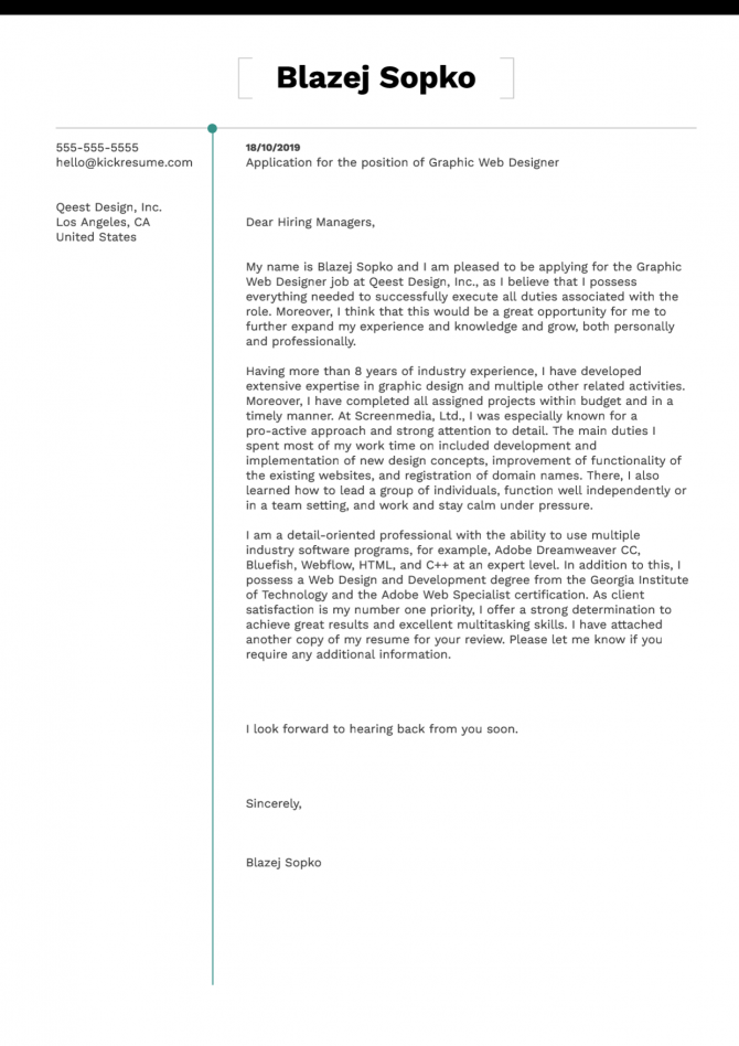 Graphic Web Designer Cover Letter Example