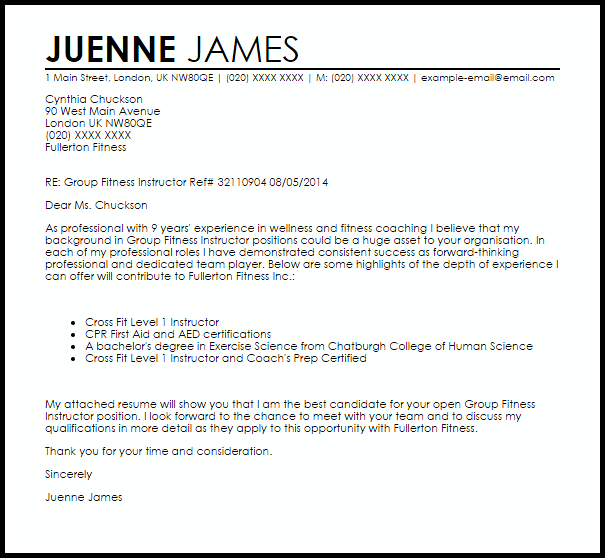 Group Fitness Instructor Cover Letter Sample