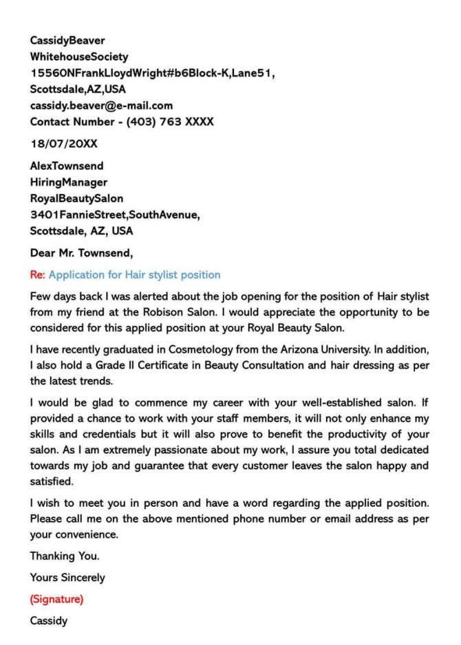 Hair Stylist Cover Letter  Sample Letters   Email Examples