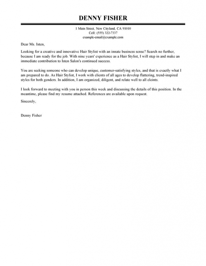 Hair Stylist Cover Letter Example Tips To Write