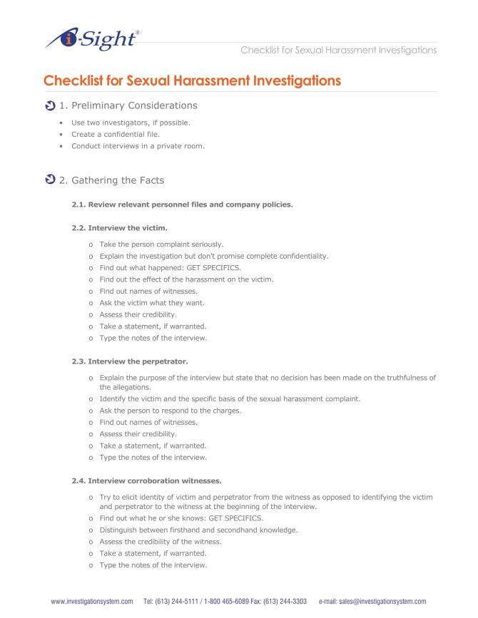 Harassment Investigation Checklist Examples