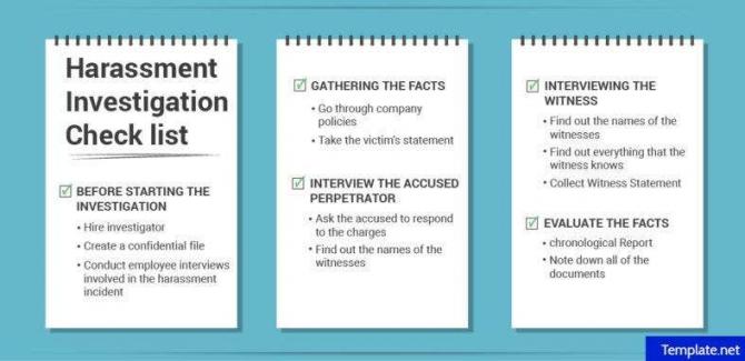 Harassment Investigation Checklist Templates