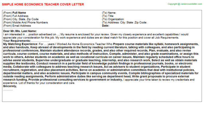 Home Economics Teacher Cover Letter