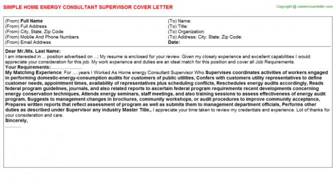 Home Energy Consultant Supervisor Cover Letter