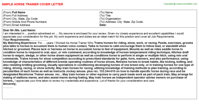 Horse Trainer Cover Letters