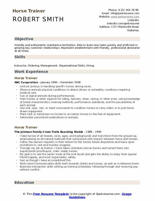 Horse Trainer Resume Samples