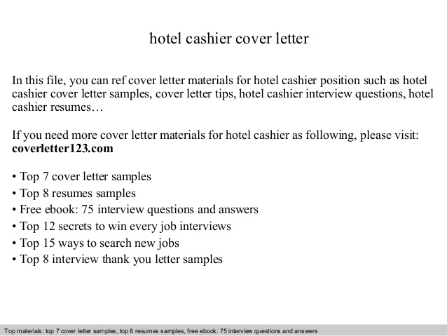Hotel Cashier Cover Letter