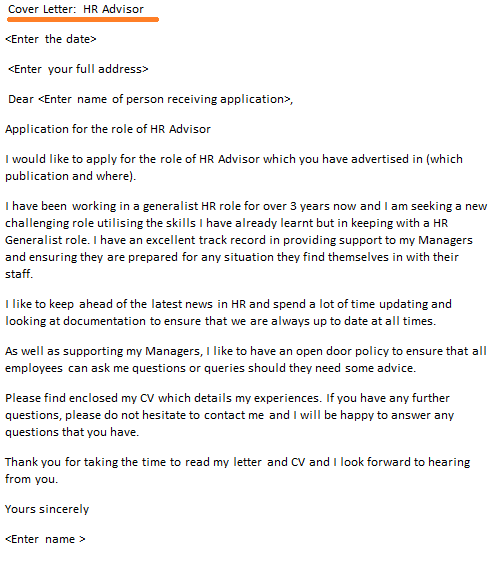 Hr Advisor Cover Letter Example