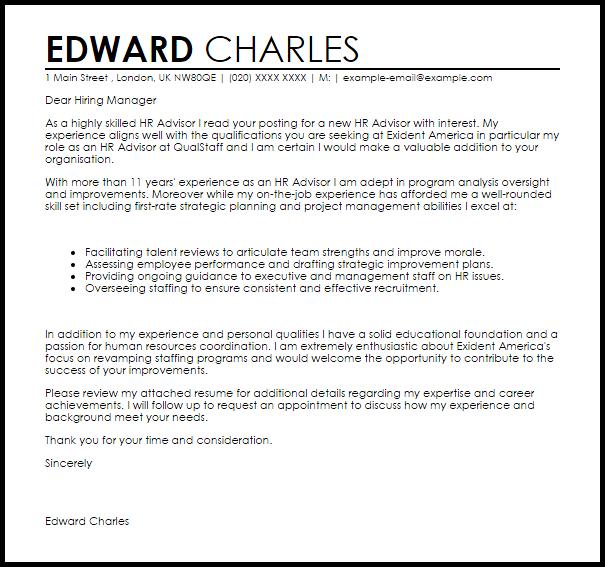 Hr Advisor Cover Letter Sample