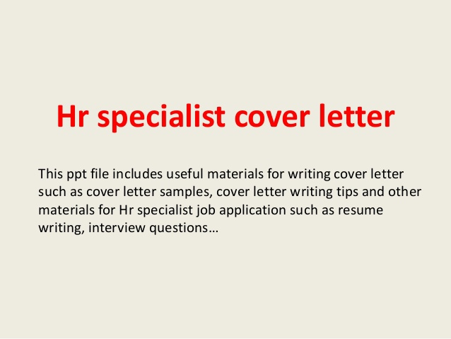 Hr Specialist Cover Letter