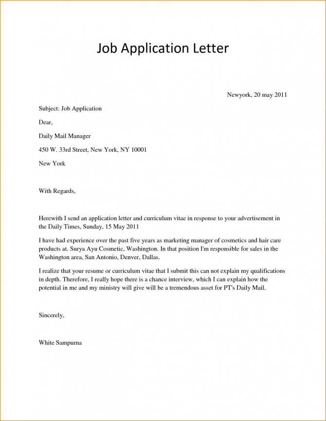 Image Result For Applying For Job Application Format