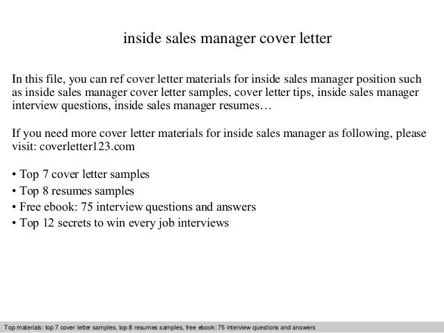 Inside Sales Manager Cover Letter