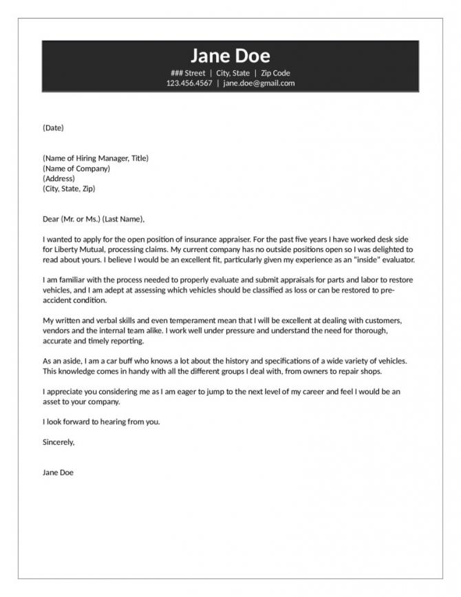 Insurance Appraiser Cover Letter