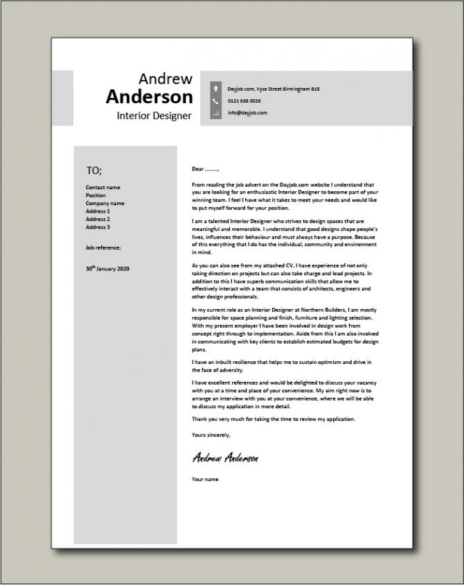 Interior Designer Cover Letter  Sample  Example  Designing