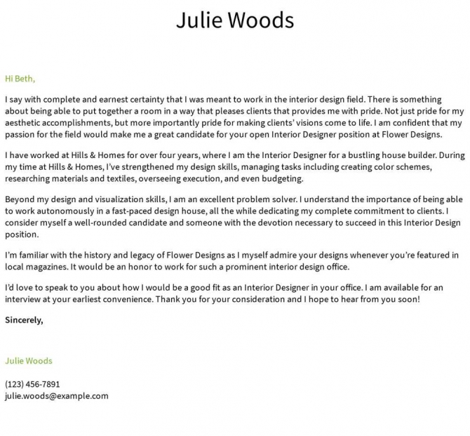Interior Designer Cover Letter Examples  Samples   Templates