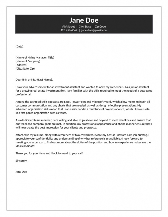 Investment Assistant Cover Letter