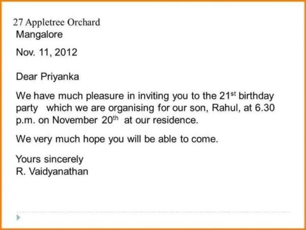 Invitations Letter Sample For Birthday Party Di