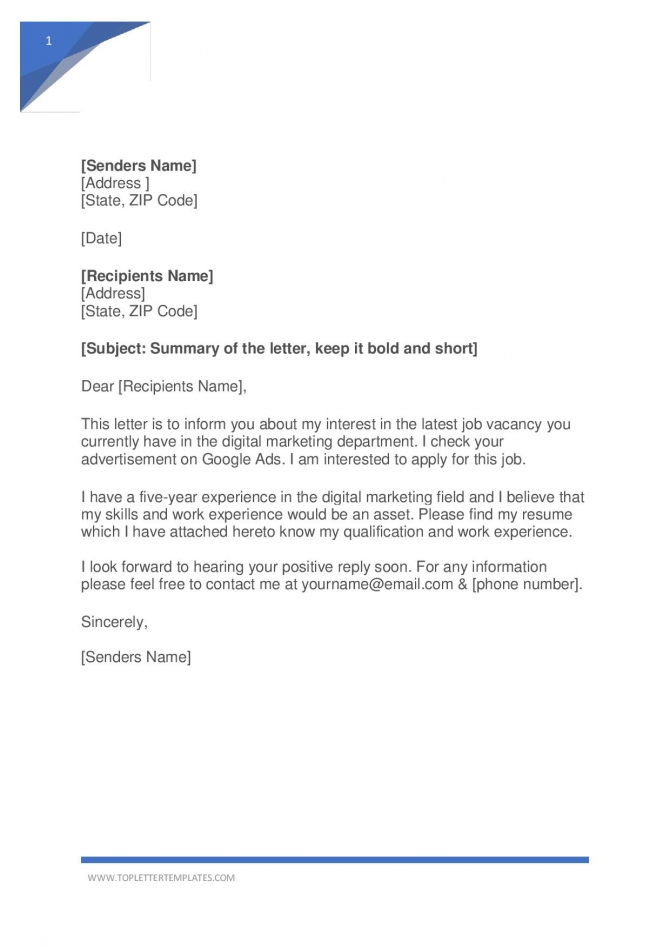 Job Application Letter Template Pdf