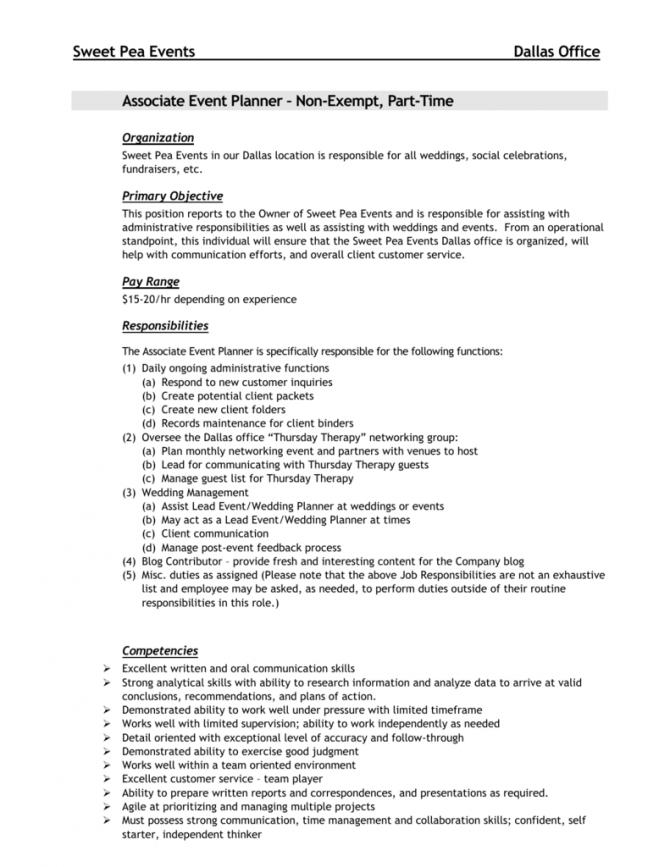 Job Description  Associate Event Planner