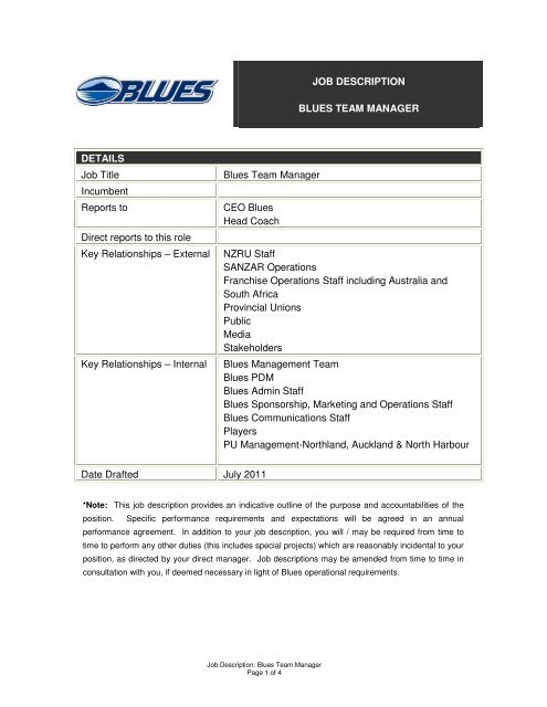 Job Description Blues Team Manager Details Job Title