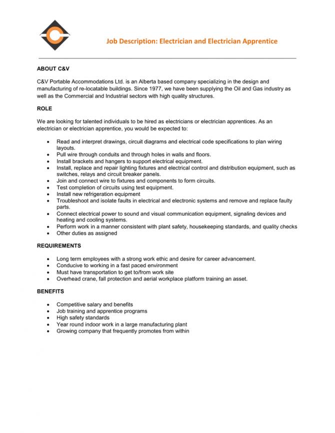 Job Description Electrician And Electrician Apprentice