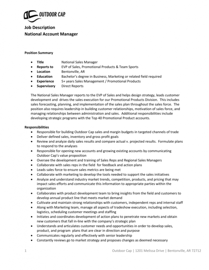 Job Description National Account Manager