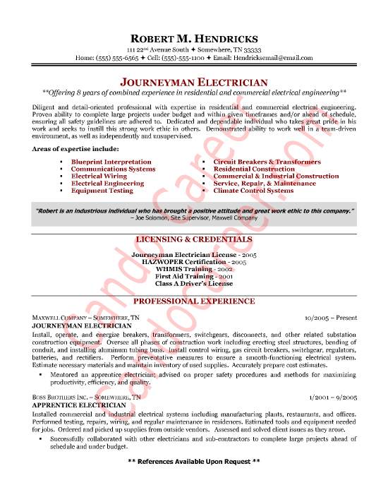 Journeyman Electrician Cover Letter Sample  Cando Career Coaching