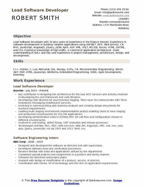 Lead Software Developer Resume Samples