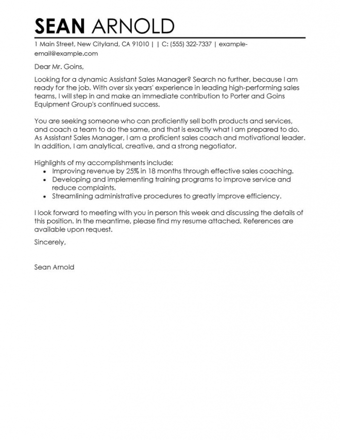 Leading Professional Assistant Manager Example Cover Letter