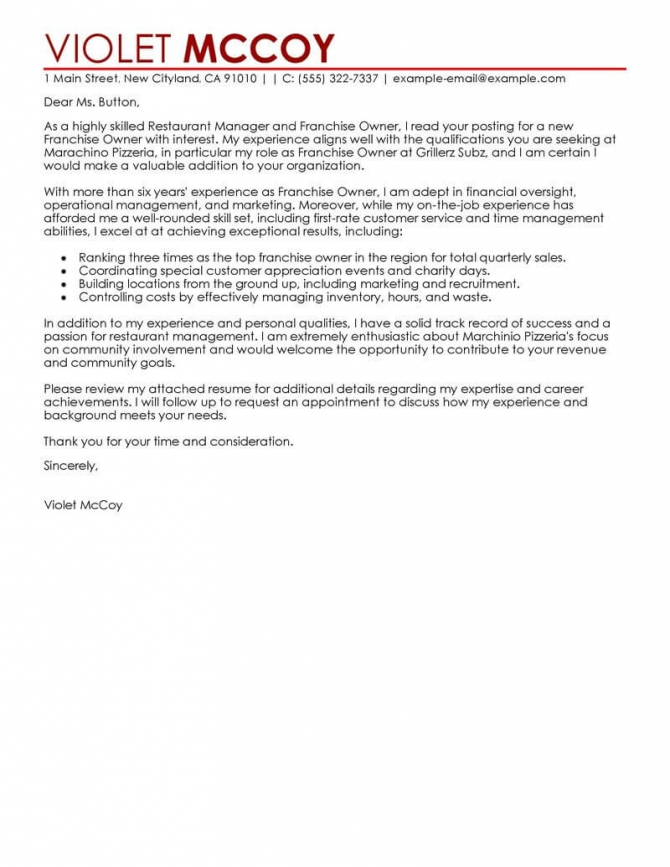 Leading Professional Franchise Owner Cover Letter Examples