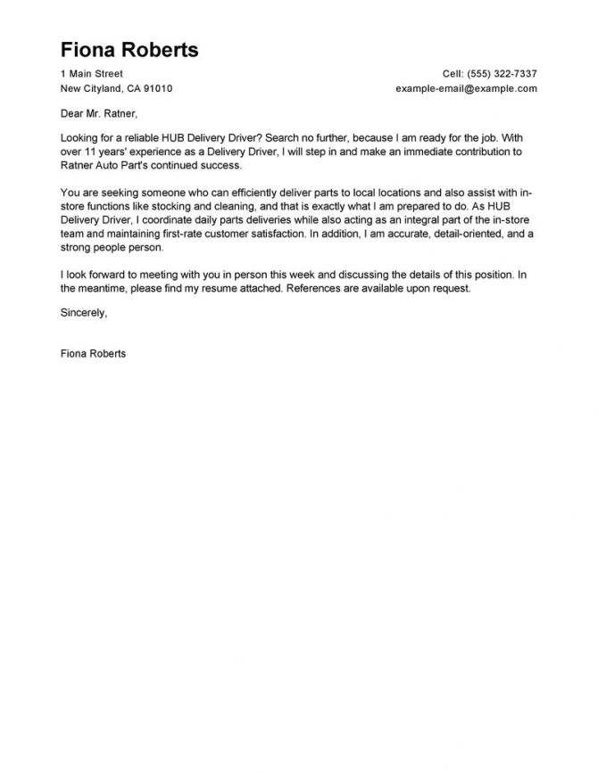 Leading Professional Hub Delivery Driver Cover Letter Examples
