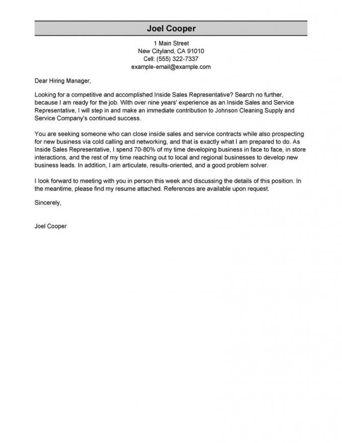 Leading Professional Inside Sales Cover Letter Examples