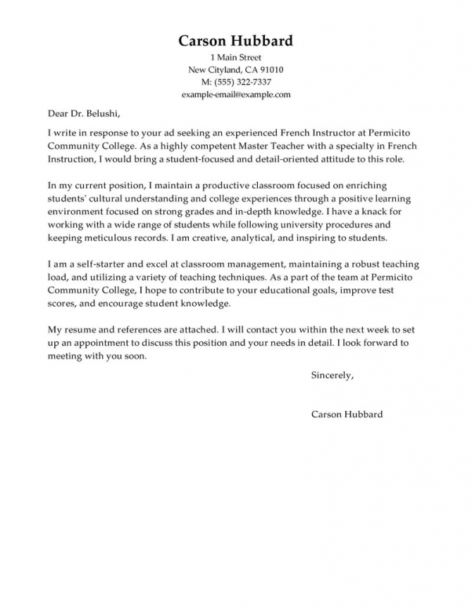 Leading Professional Master Teacher Cover Letter Examples