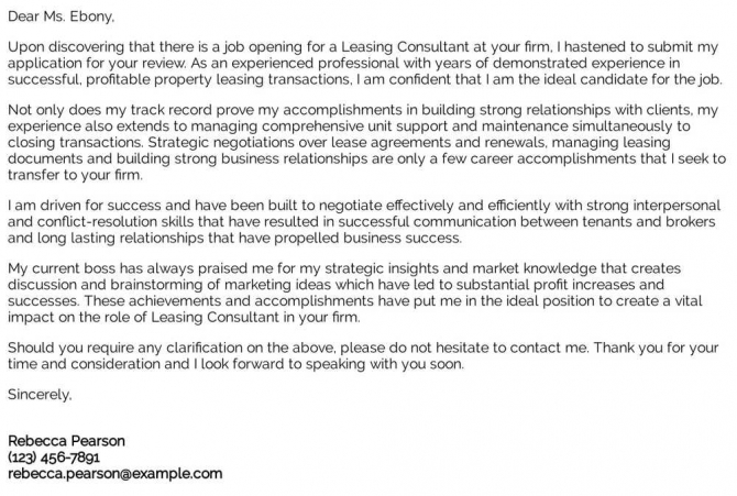 Leasing Consultant Cover Letter Examples  Samples   Templates