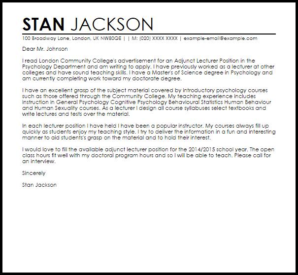 Lecturer Sample Cover Letter