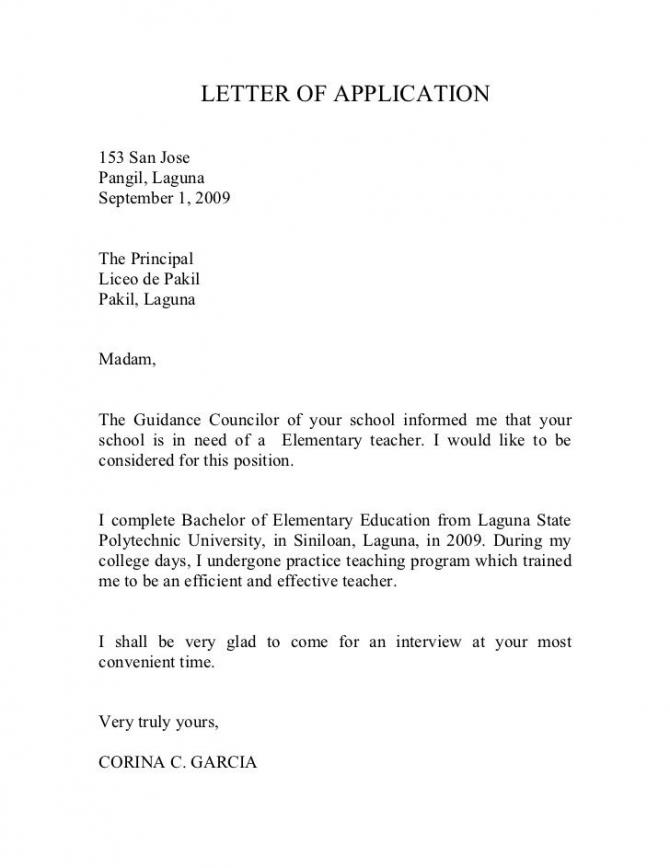 Letter Of Application  San Jose Pangil  Laguna September