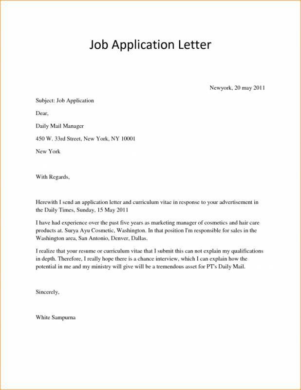 Letter Of Application Sample Simple Application Letter Sample For