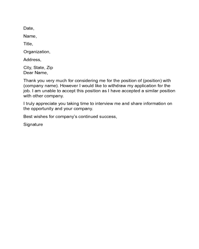 Letter To Withdraw From A Job Offer Sample