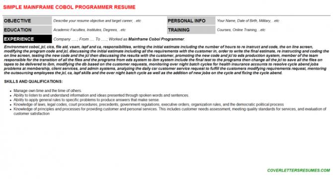 Mainframe Cobol Programmer Job Cover Letter   Resume
