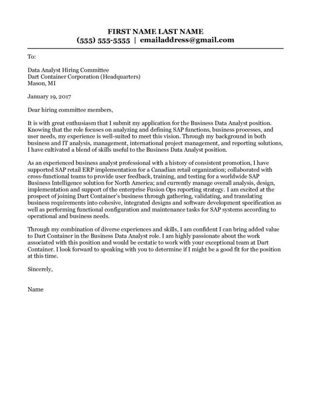Management Analyst Cover Letter